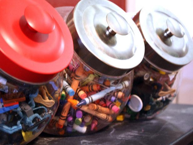 food storage jars to store craft supplies