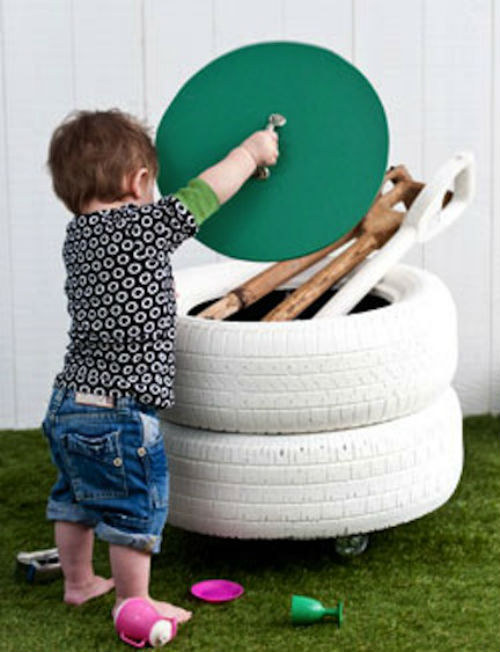 storge space old tyres diy upcycled space for kids toys