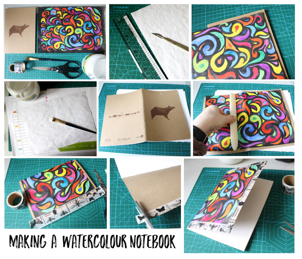making a watercolour notebook with the craft corner