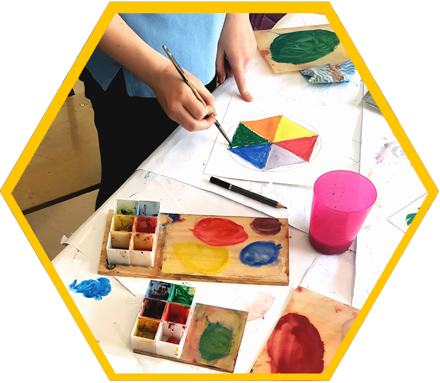 making colour wheels in art class with the craft corner