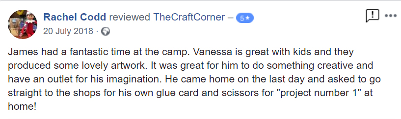 """James had a fantastic time at the camp. Vanessa is great with kids and they produced some lovely artwork. It was great for him to do something creative and have an outlet for his imagination. He came home on the last day and asked to go straight to the shops for his own glue card and scissors for """"project number 1"""" at home!"""