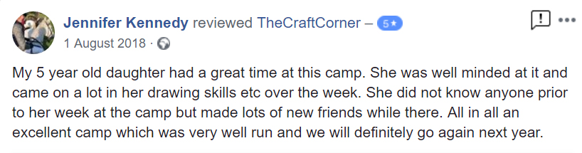 Another 5 star review of our Celbridge summer camp with The Craft Corner