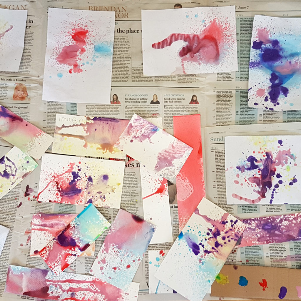 our spray painting creations from summer camp with kids