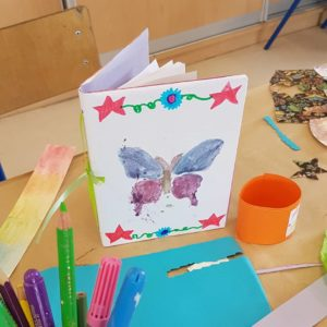 butterfly notebook made by one of our students