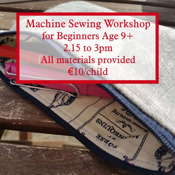 machine sewing workshop for beginners age 9 and up