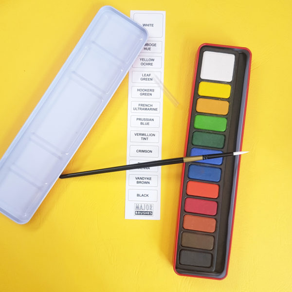 12 watercolour blocks in tin with thin brush