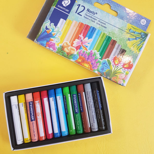 set of 12 oil pastels for arts and craft camps and classes 8mm diameter