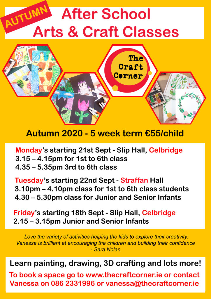 autumn term of arts and craft classes 2020