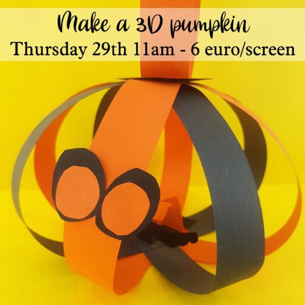 Live online halloween workshop learn to make a 3d paper pumpkin