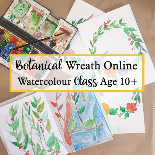 botanical wreath online watercolour painting class